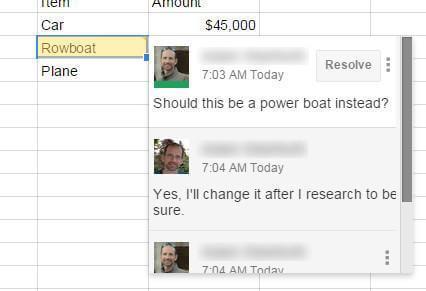 Google Sheet Comment