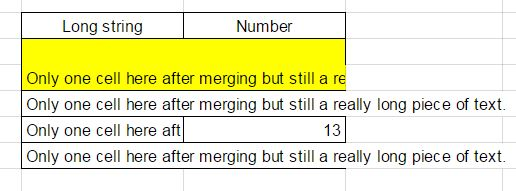 merged cells columns and rows