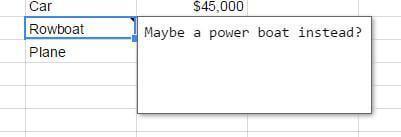 google sheets note