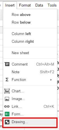 sheets insert drawing menu