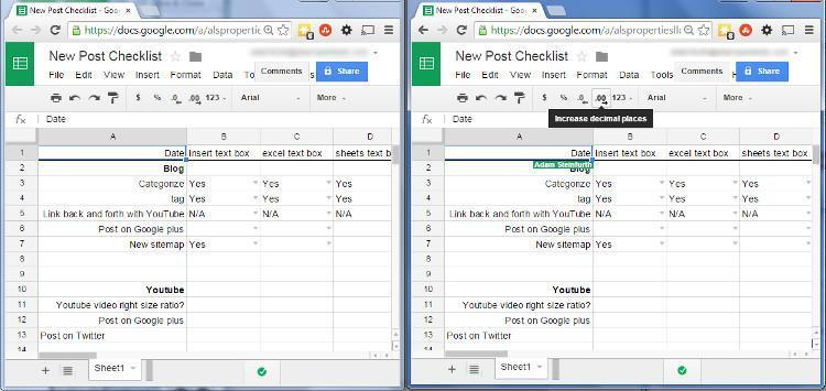 Sheets in two browser windows