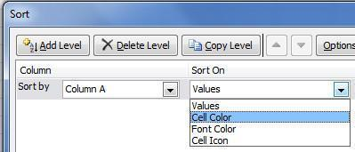 Excel's sorty by cell color