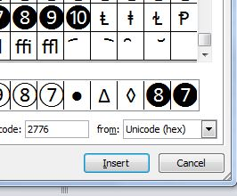 Excel's special characters