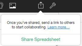 share spreadsheet pop up option