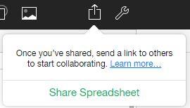 share spreadsheet pop up option