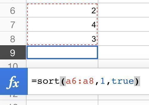 one column sort formula
