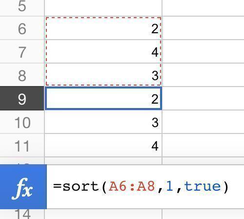 one column sort result