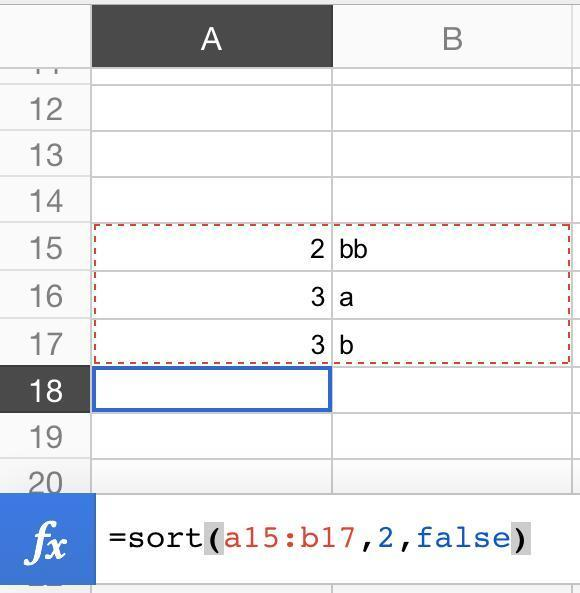 two column sort formula