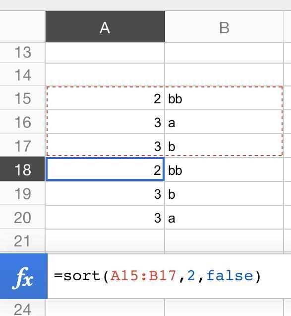 two column sort result
