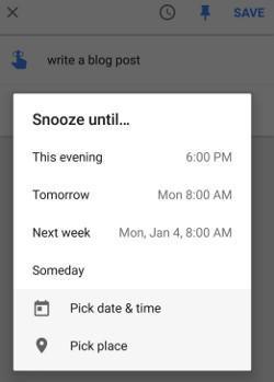Inbox snooze options