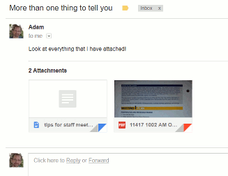 Gmail message with multiple attachments