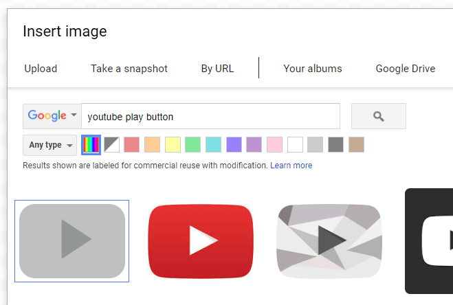 Search YouTube button
