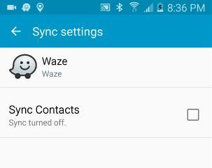 Box to uncheck to stop Waze from synching contacts