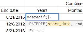 DATEDIF function screen capture