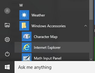 IE in the start menu
