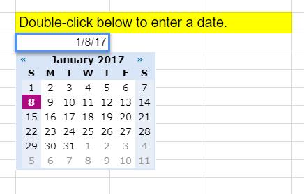 Pop-up calendar