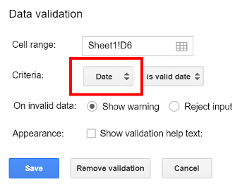 Data criteria selected