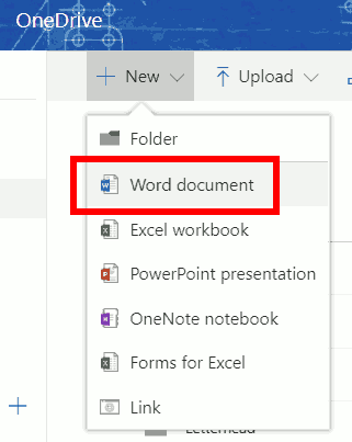 Create new Word document