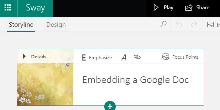 Sway with Google Doc