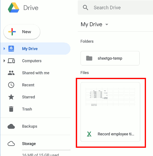 Excel file in Google Drive