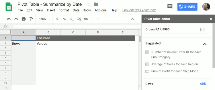 New, blank pivot table
