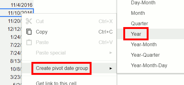 Pivot Table Grouping by Year