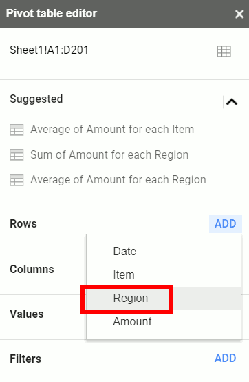 Selecting Region as the row