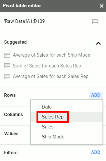 Add Sales Rep as a Row