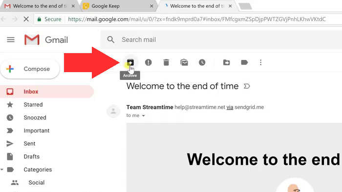 gmail archive email