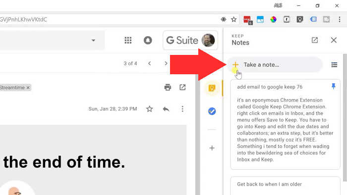Add an Email from Gmail into Google Keep - No Extensions