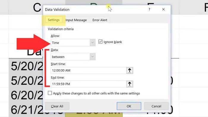 time data validation settings