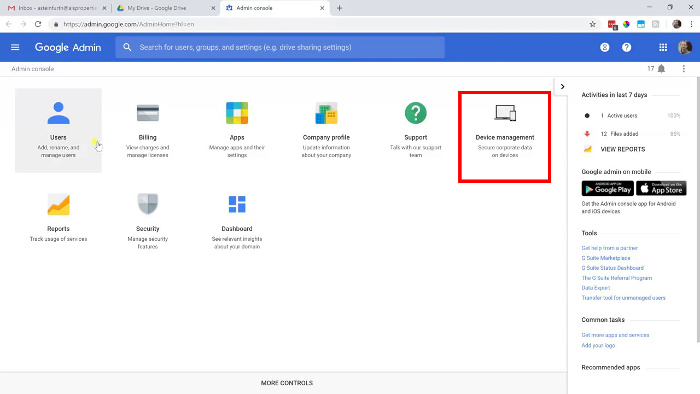 G Suite admin console with Device management option selected