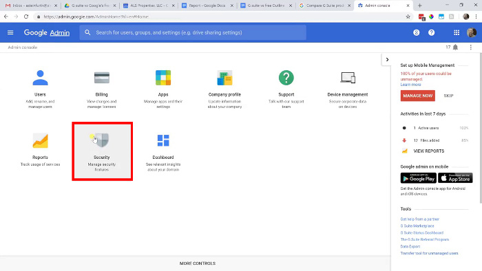 G Suite admin console with Security highlighted