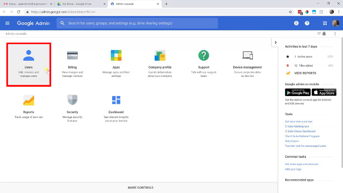 G Suite admin console with Users selected