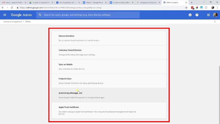 G Suite admin device management options