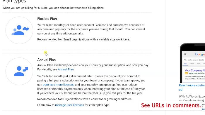 G Suite Plan types