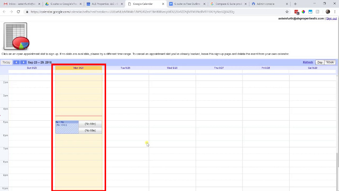 Google Calendar showing appointment slots