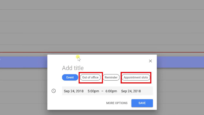 Extra options on calendar frin having G Suite