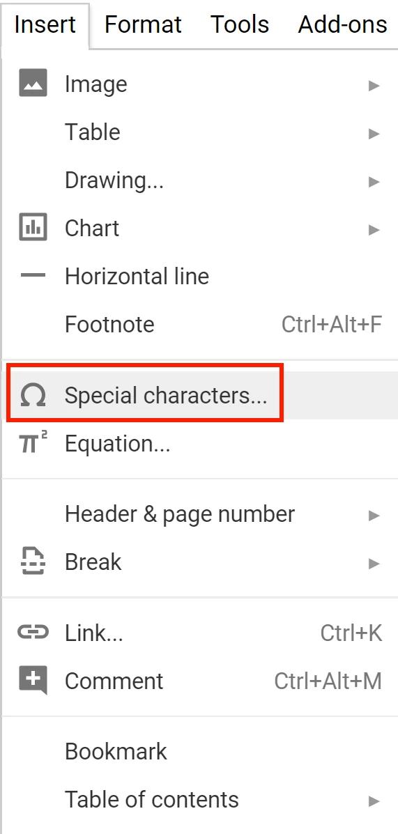 docs insert special characters menu