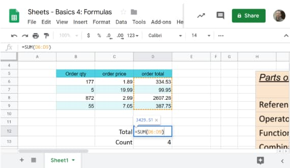 thumbnail showing basic spreadsheet
