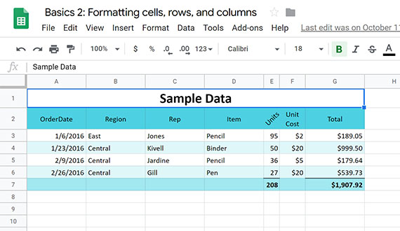 Style your spreadsheet