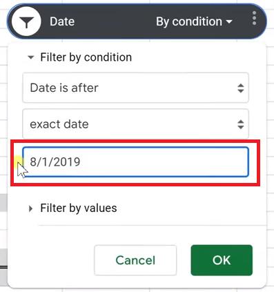 Choosing a date range