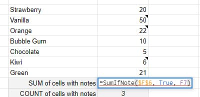 formula for SumIfNote
