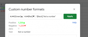 Screen showing custom number formats that have been applied
