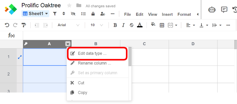 Edit data type selected on right-click menu