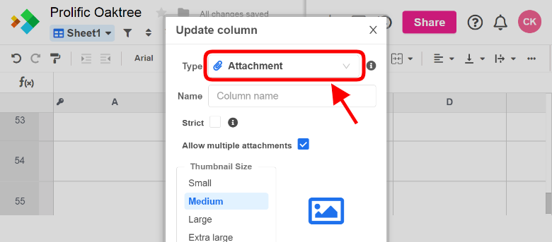 Updating the column to the Attachment data type