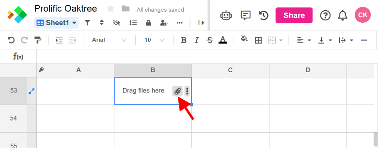 Paperclip icon showing how to upload file to spreadsheet