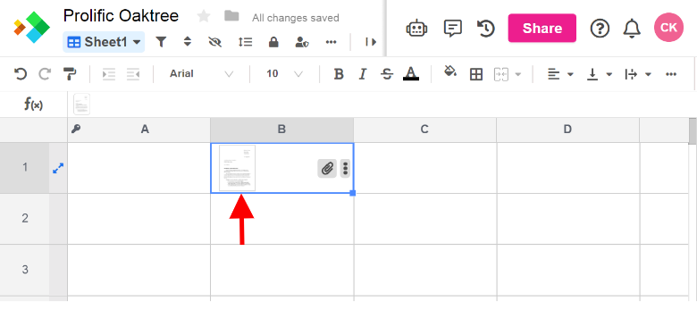 Spreadsheet cell showing that you have uploaded your file to the spreadsheet