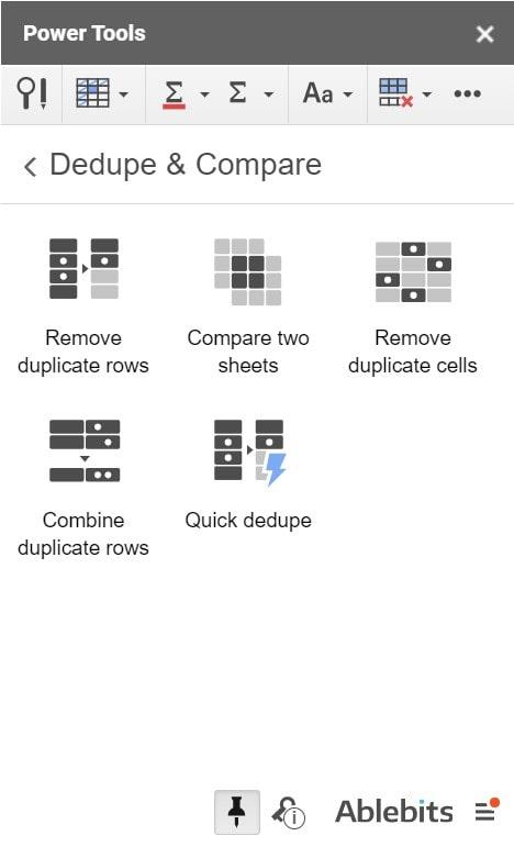 Dedupe and Compare Menu
