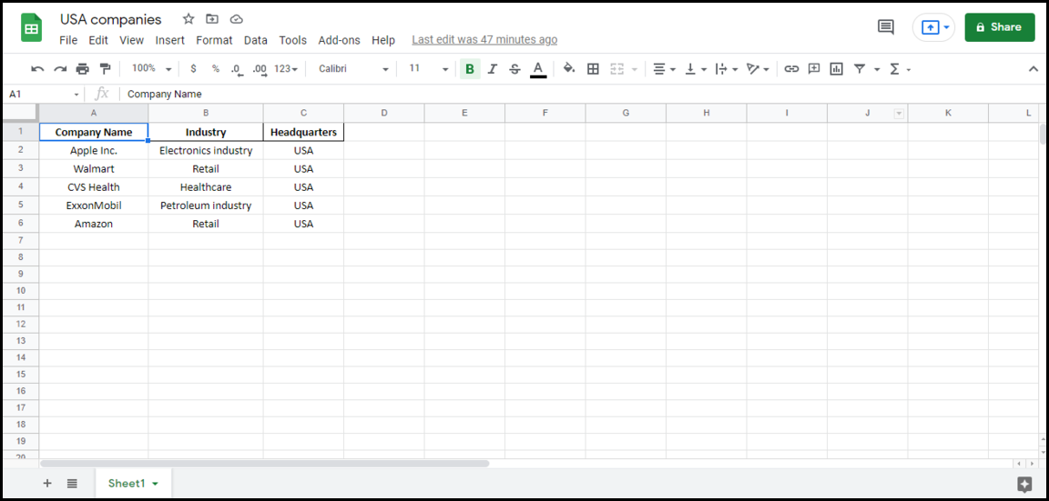 On of the three spreadsheets that are will be combined